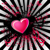 Black stain and pink heart Stock Image