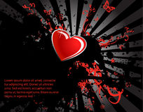 Black stain and red heart Stock Images