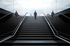 Black stairs with businessman Stock Photo