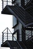 Black stairway. Black steel stairway with modern facade royalty free stock photos