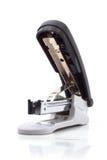 Black stapler. Plastic stapler black, white background Stock Images