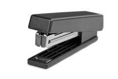 Black stapler. Isolated on a white background stock photography