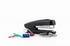 Black stapler isolated on white background Royalty Free Stock Image