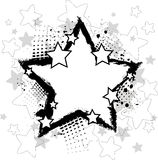 Black star. Grunge black and white background with stars royalty free illustration