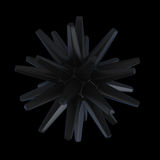Black star object. High resolution 3d render of abstract black matted object on black background Royalty Free Stock Photo