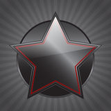 Black star. Black-red star over a circle Royalty Free Stock Photography