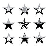 Black star set Stock Images
