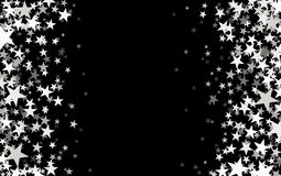 Black starry background. Black starry background with stars confetti. Vector paper illustration Stock Photography