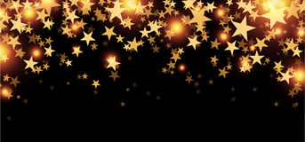 Black starry banner. Black starry banner with stars confetti. Vector paper illustration Stock Photography