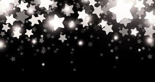Black starry banner. Black starry banner with stars confetti. Vector paper illustration Royalty Free Stock Image