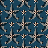 Black stars on a blue background seamless pattern vector illustration Stock Photography