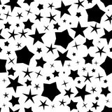 Black stars pattern. Black stars seamless pattern for any background. Vector illustration Stock Photo