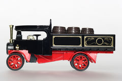 Black steam car classic toy car sideview. Picture of a classic toy car. From my brothers toy collection Royalty Free Stock Photography