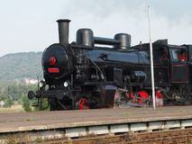 Black steam locomotive Royalty Free Stock Image