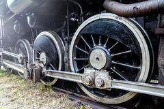 Steam locomotive wheels. Stock Photos