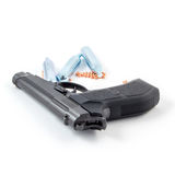 Black steel air pistol isolated on white Stock Photography