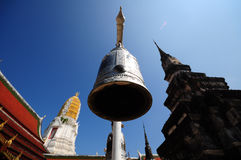 Black steel bell in thailand temple. The black steel bell in thailand temple Royalty Free Stock Images