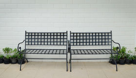 Black steel bench Royalty Free Stock Photography