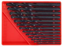 Black Steel Drill Bit set Royalty Free Stock Photo