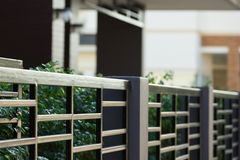 Black steel fence of residential house. Modern style Stock Photography