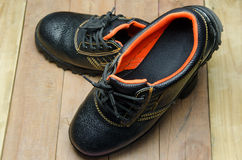 Black Steel Toe Safety boots. Royalty Free Stock Photos