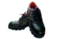 Black steel toe safety boots on white background. Stock Images