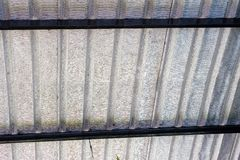 Close up metallic sheets of high roof warehouse royalty free stock images