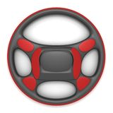 Black steering wheel with red linings on withe background Stock Photo