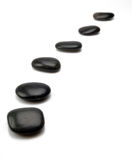 Black stepping stones Stock Images