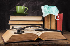 Black Stethoscope on Book Royalty Free Stock Images