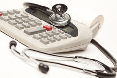 Black Stethoscope on Calculator Royalty Free Stock Image