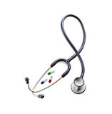 Black stethoscope with pils Stock Photos