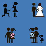 Black stick figure, love story. Black stick figures, love story by one family Royalty Free Stock Images