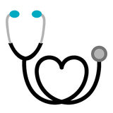black sticker stethoscope with heart icon Royalty Free Stock Photography