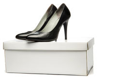 Black stiletto High Heels Shoe on the Box Royalty Free Stock Images