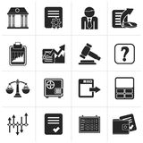 Black Stock exchange and finance icons. Vector icon set Stock Photography