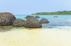 Black stone beach Royalty Free Stock Images