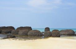 Black stone beach Stock Photos