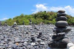 Black stone beach Royalty Free Stock Image