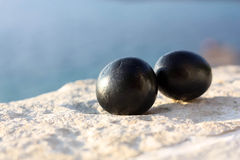 Black stone eggs Stock Photography