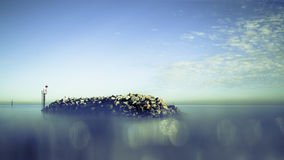 Black Stone Jetty Photo Royalty Free Stock Images
