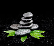 Black stone with leaf. massage Royalty Free Stock Images