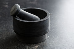 Black stone mortar. Stock Photo