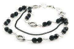 Black Stone Necklace Isolated on White Royalty Free Stock Image