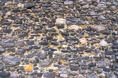 Black stone old ancient wall background with copy space. Abstract old close-up texture. Patterned view royalty free stock image