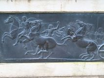 Black Stone. Sculpted bas relief framed with white stone in Cong Ireland Royalty Free Stock Image