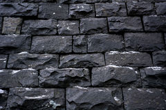 Black stone wall  background texture Stock Photography