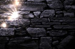 Black stone wall and lights Royalty Free Stock Photos