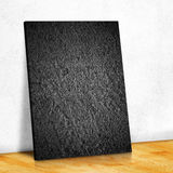 Black stone on the white wall and the wood parquet floor,Mock up Royalty Free Stock Photos