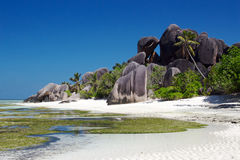 Black stones. On the La Digue island Stock Images